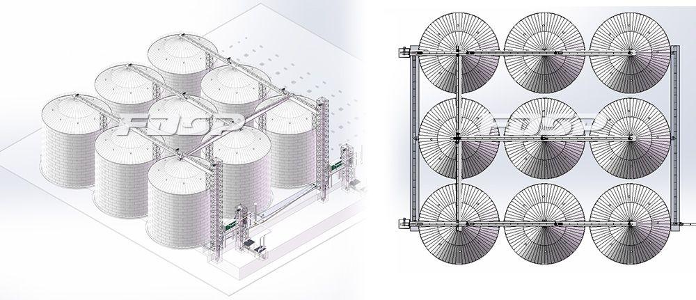 饲料行业9-6000T玉米钢板仓工程