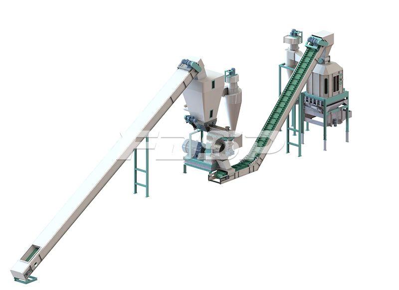 时产1吨果壳果渣类生物质制粒生产线