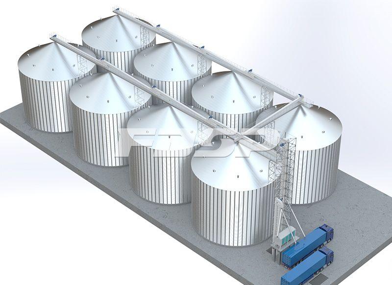 粮食行业8-4000T玉米钢板仓工程